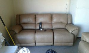 Tan leather electrical reclining sofa set for Sale in Phoenix, AZ