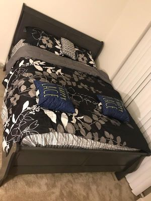 Brand New Queen Size Grey Wood Sleigh Bed Frame ONLY for Sale in Silver Spring, MD