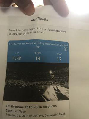 Ed Sheeran floor tickets for Sale in Renton, WA