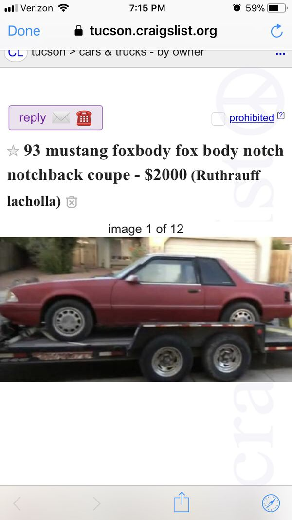 Craigslist Tucson Cars And Trucks By Owner >> Mustang Foxbody For Sale In Tucson Az Offerup