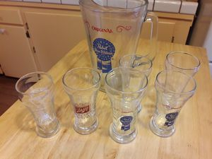 Collectable beer glasses with glass PBR pitcher for Sale in Tempe, AZ