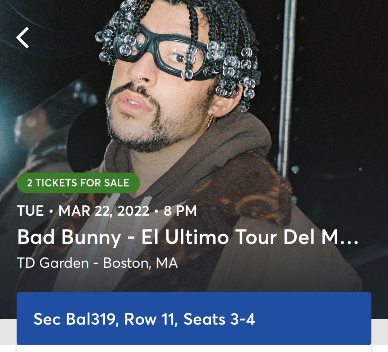 Bad Bunny Tickets TD Garden 3/22/2022