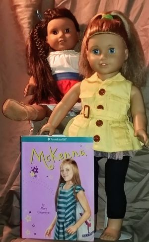 Photo 2 (two) AMERICAN GIRL brand Dolls & 1 (one) AMERICAN GIRL brand McKenna by: Mary Kasanova Book