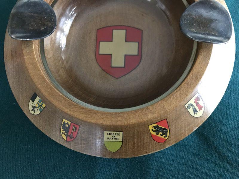 Vintage Swiss wood ashtray