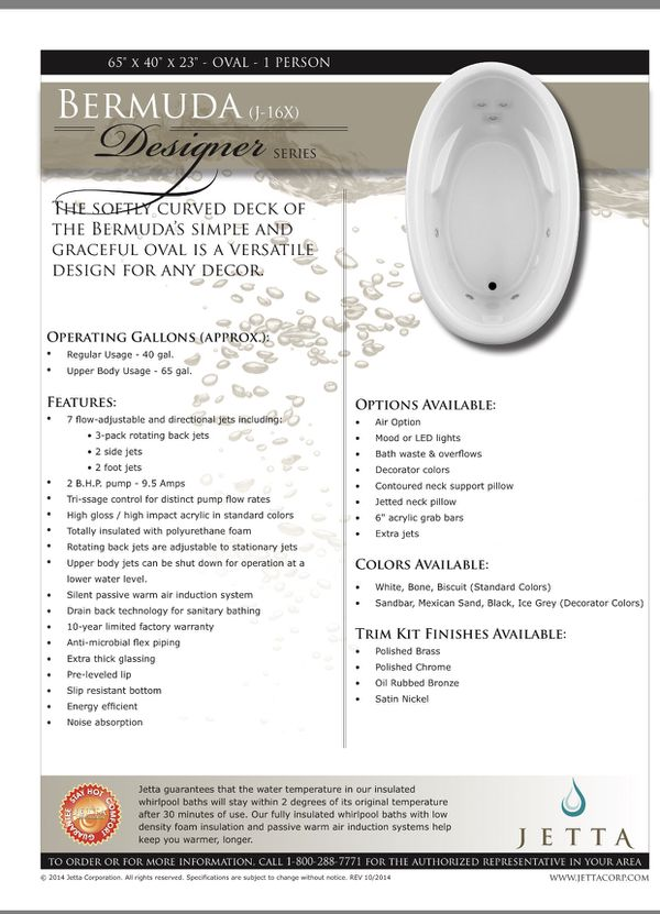Bermuda designer Jetta whirlpool tub (Home & Garden) in San Mateo ...