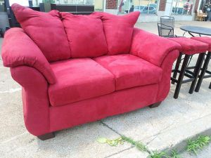 Red microfiber love seat for sale for Sale in St. Louis, MO