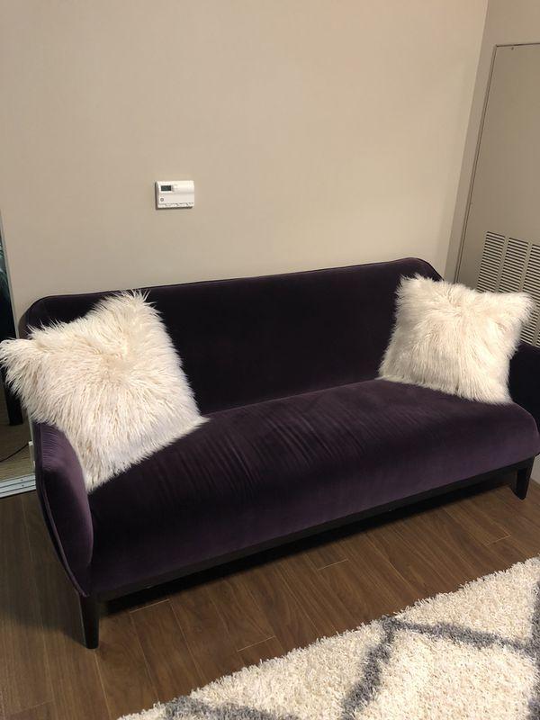 Dania Upstil Crushed Plum Velvet Sofa