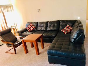 Leather sofa + chair + table for Sale in Alexandria, VA