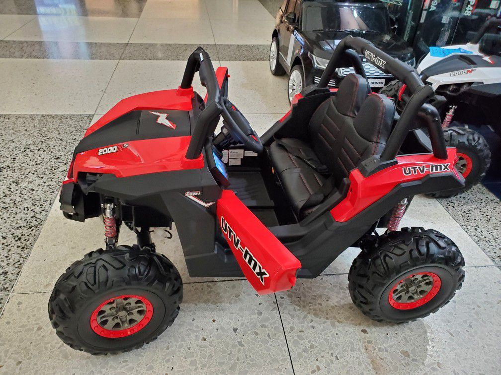 Utv 4x4 Remote control leather seats screen for videos shocks soft tires 6mph
