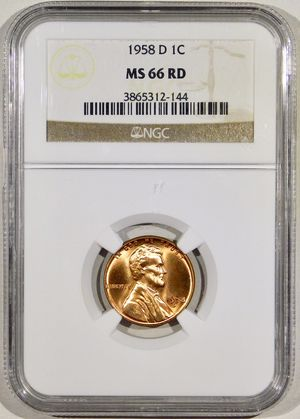 Photo 1958-D Lincoln Cent NGC MS-66 RED