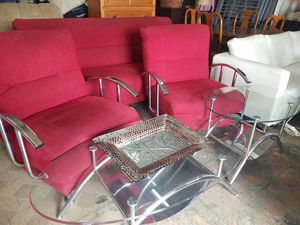Futon sofas set and 2 crystal tables for Sale in Hialeah, FL