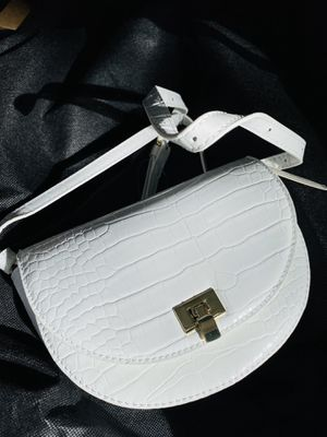 Photo White purse handbag strap vegan leather snake pattern women's women girl's