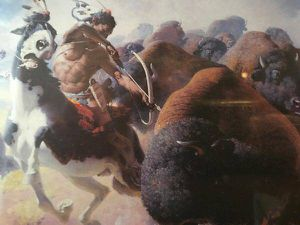 The Buffalo Hunt - 1947 American Indian bison framed print - $25 (Reston) for Sale in Reston, VA