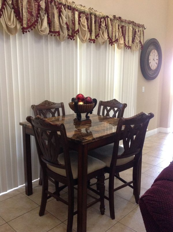 High Table With 4 Solid Wood Stools From City Furniture Tradewinds Collection Port St Lucie Fl