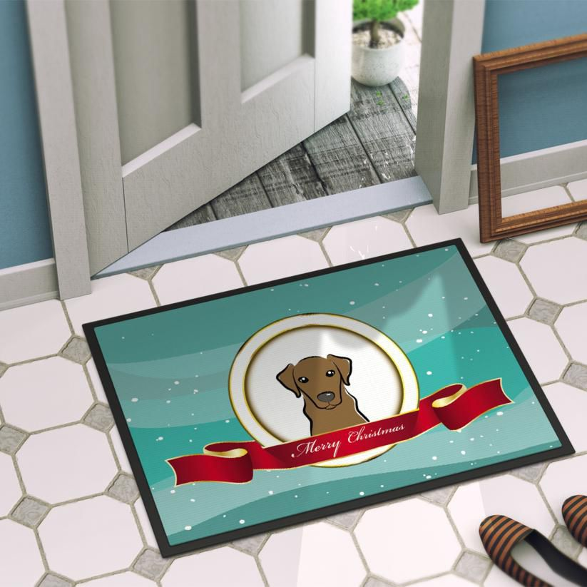 Caroline's Treasures BB1544JMAT Chocolate Labrador Merry Christmas Indoor or Outdoor Mat 24x36 , 24H X 36W, multicolor