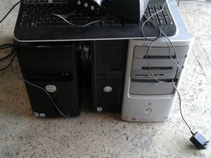 Lots of computer equipment. 3 Dell towers all work 2 keyboards 1 mouse 1 Epson photo printer has ink 2 keyboards 1 gateway high definition monitor for Sale in Longwood, FL
