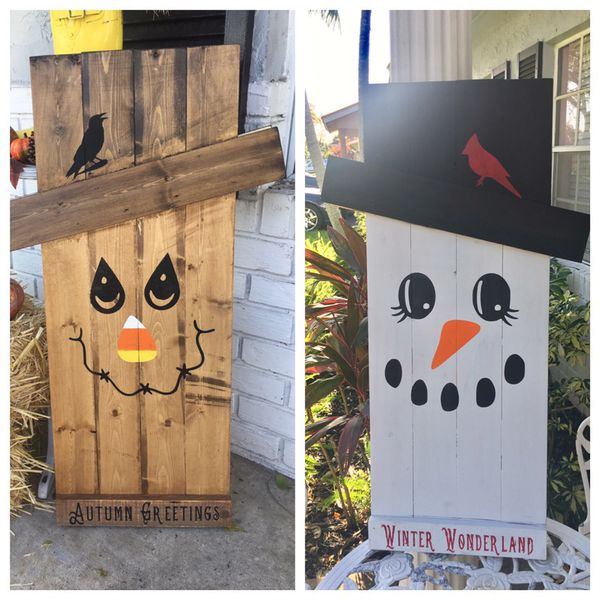 Scarecrow Snowman Reversible Pallet Wood For Sale In Fort Lauderdale Fl Offerup
