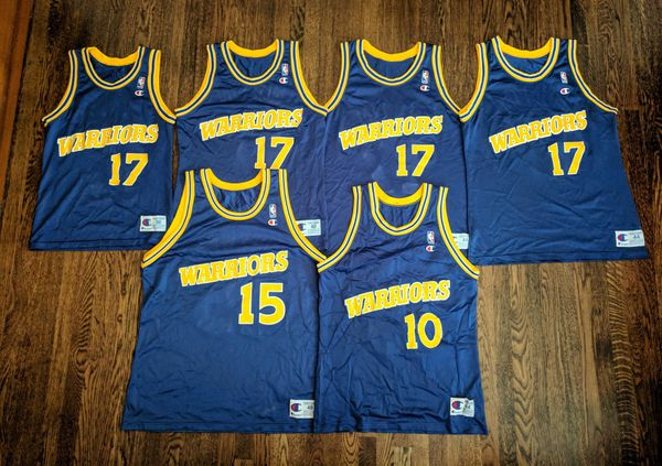 Warriors Champion Jerseys Vintage Mullin Sprewell NBA Jersey Rare 44 ... e66b28669