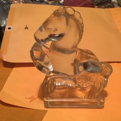 """Two heavy glass horse bookends 8"""" tall Thumbnail"""