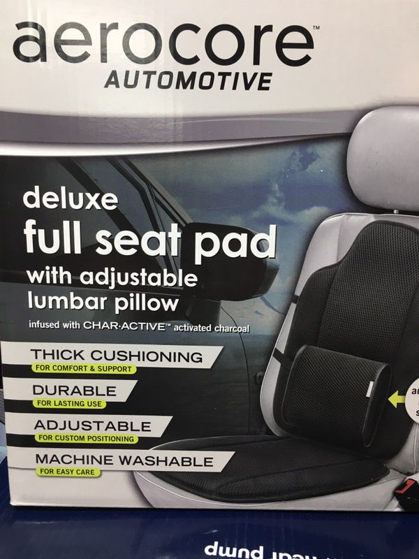 NEW AEROCORE DELUXE FULL CAR SEAT WITH ADJUSTABLE LUMBAR SUPPORT PILLOW