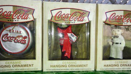 Coca-Cola ceramic Christmas ornaments Thumbnail