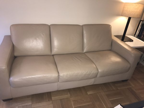 Natuzzi Genuine Leather sofa bed and arm chair for Sale in Queens, NY -  OfferUp
