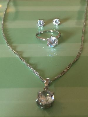 Set Of 3. A size 8 ring. An a necklace and matching earrings for Sale in Aldie, VA