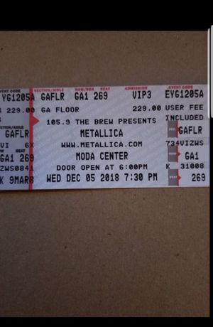 Metallica floor ticket for Sale in Oregon City, OR