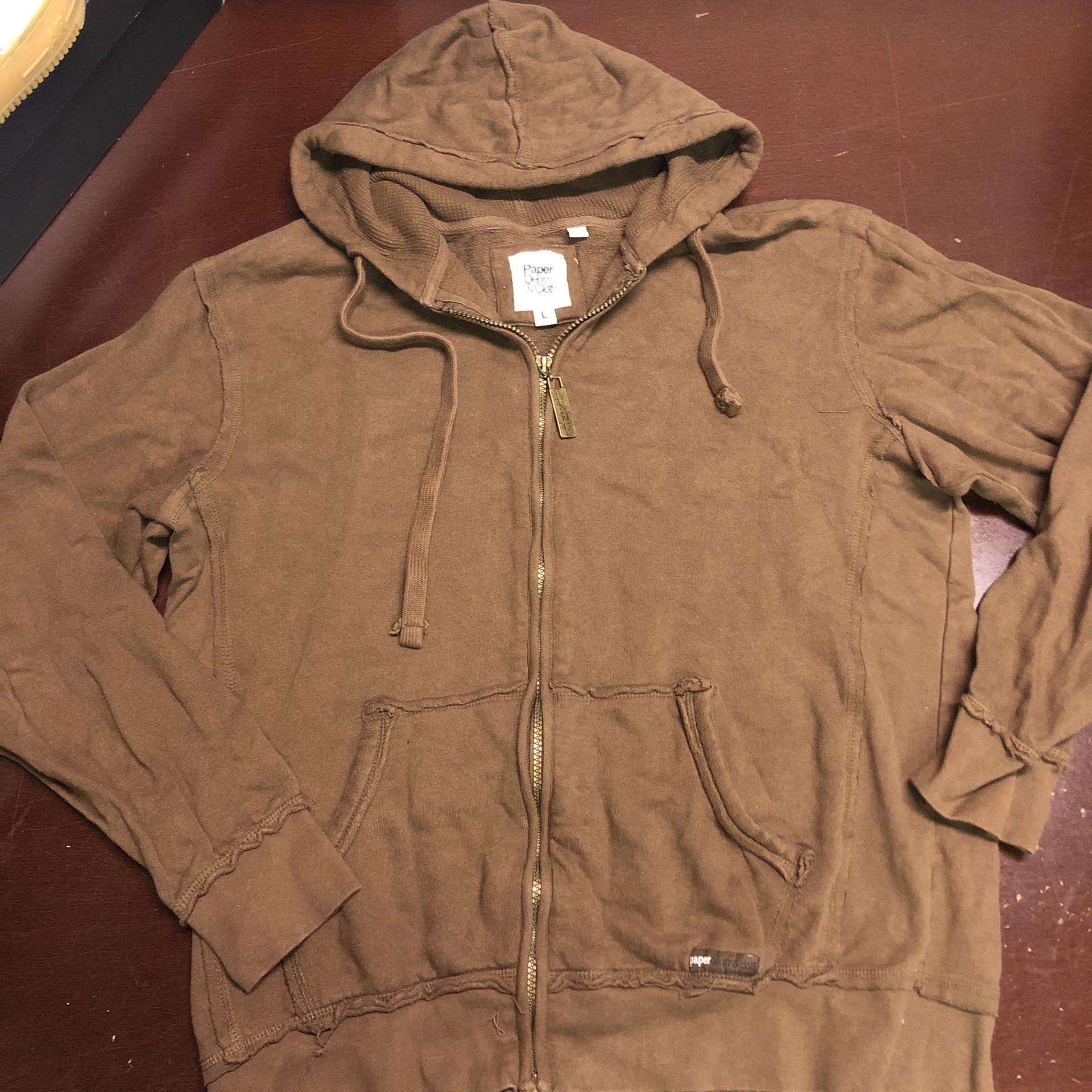 $88 Paper Denim & Cloth Distressed Brown Jacket Hoodie | L | Zip Men's Vintage
