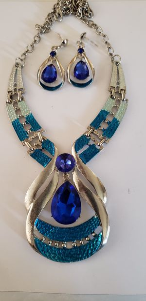 Pretty Blue Fashion Necklace and Matching Earrings for Sale in Houston, TX
