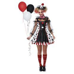 Women's killer clown costume Thumbnail