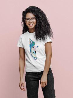 SPIdeals Wolf's Half Face T-shirt Women's -SPIdeals Designs White Size S Thumbnail