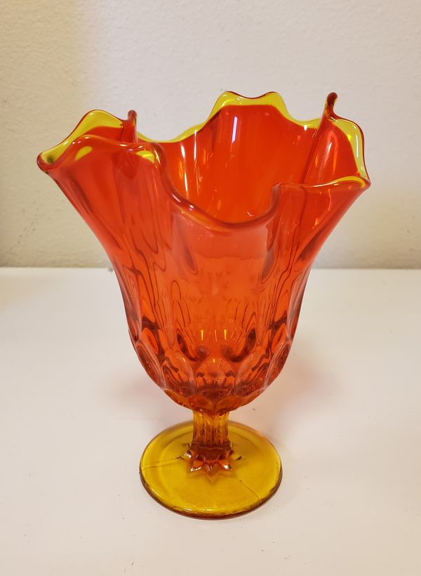 Vintage Viking Glass Orange Handkerchief Pedestal Vase 85 For