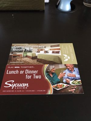 Sycuan casino 1 night stay and dinner. for Sale in San Diego, CA