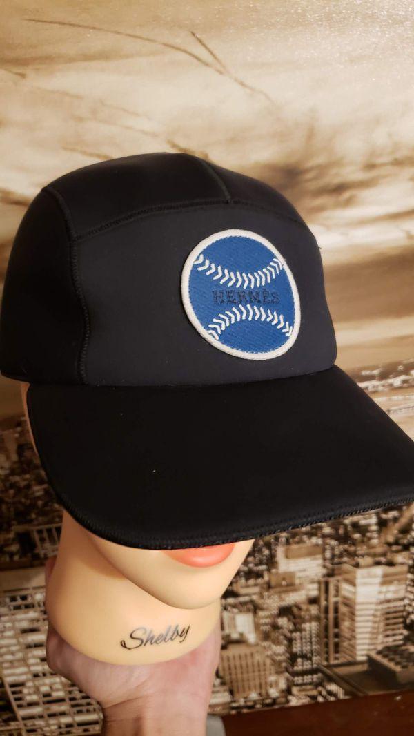 fca23bfa789 Hermes Cap Authentic Limited Edition Black Nevada Neoprene Baseball Cap  size 58