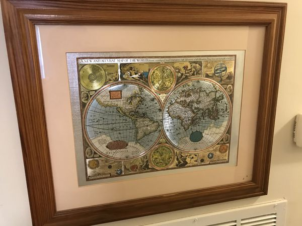 A New And Accvrat Map Of The World 1626.A New And Accvrat Map Of The World 1626 Framed Metal Piece For Sale