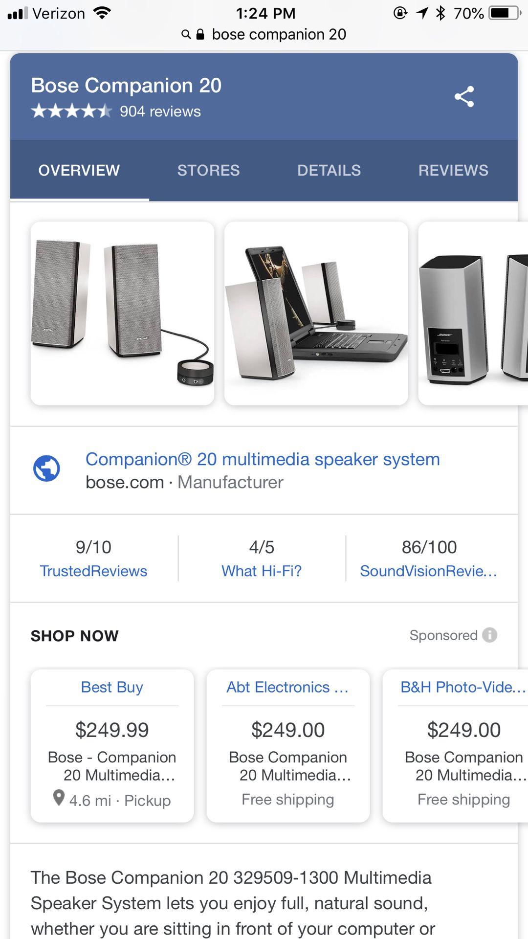 Bose Companion 20 multimedia Desktop Stereo Speaker System