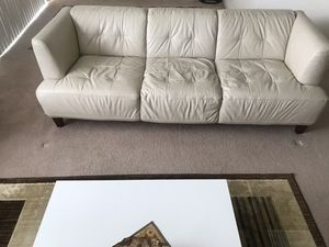 Cream leather sofa and arm chair for Sale in McLean, VA