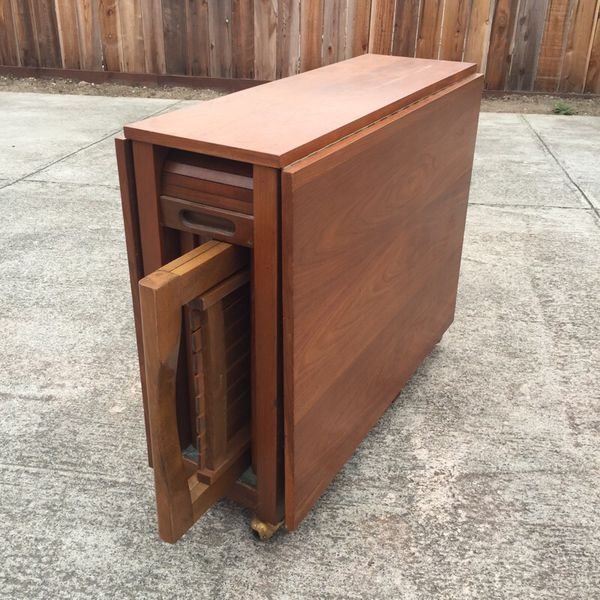 Rare Mid Century Romanian Drop Leaf Table W 4 Hideaway Chairs For Sale In Pacifica Ca Offerup