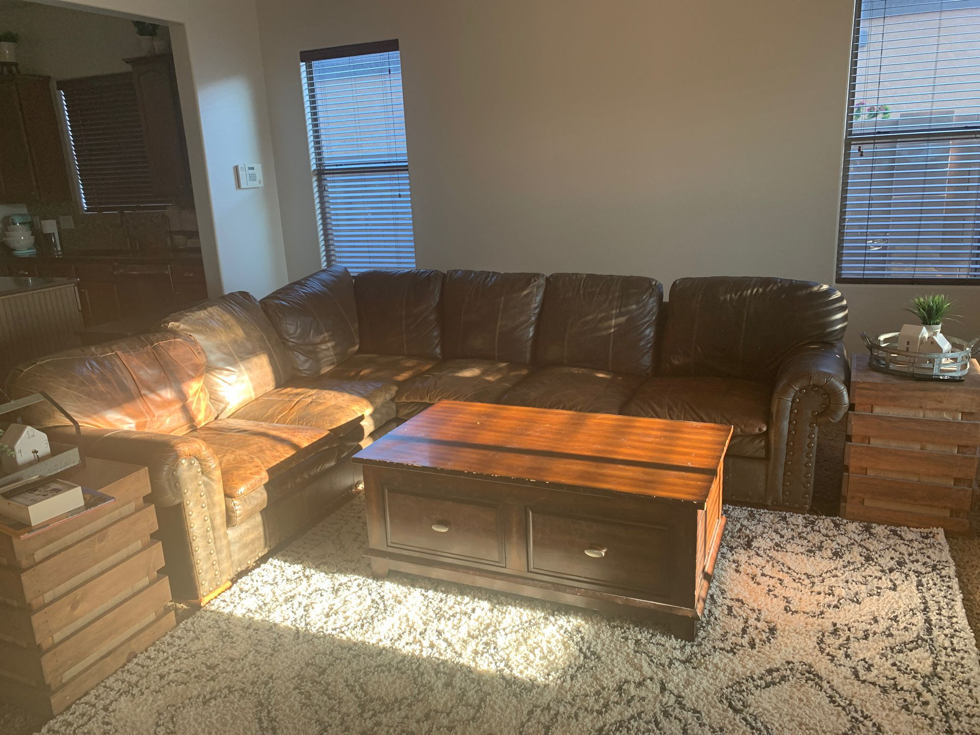 Authentic leather nailhead couch