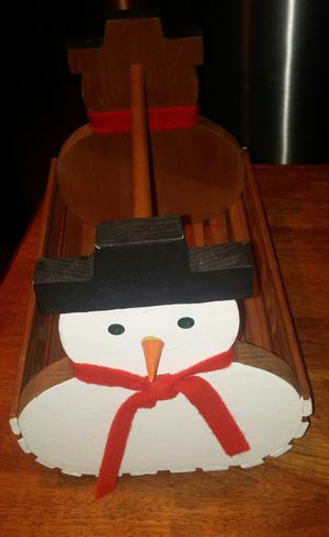 Handcrafted Wooden Snowman Christmas Card Holder for Sale in Gaithersburg, MD
