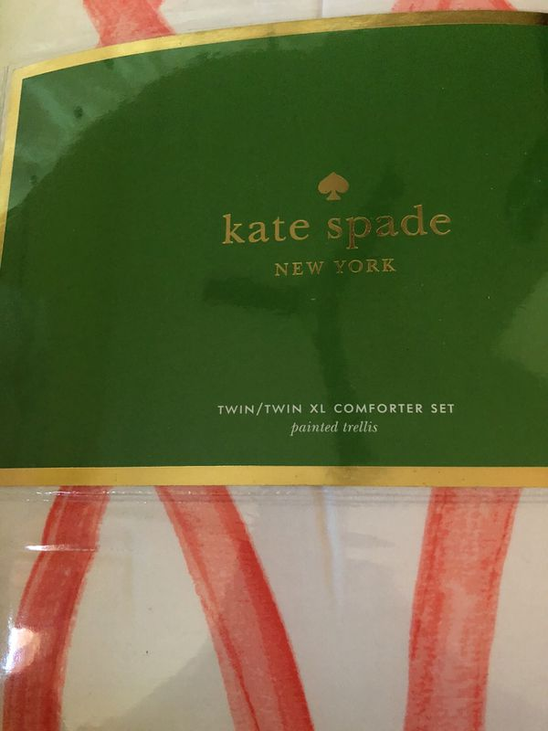 Nwt Kate Spade Painted Trellis Twin Comforter Set For Sale In San
