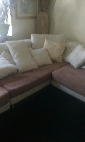 Sectional very long Price low needs Cleaning in good shape! No Stains or Pets with chair and Ottoman. for Sale in St. Louis, MO