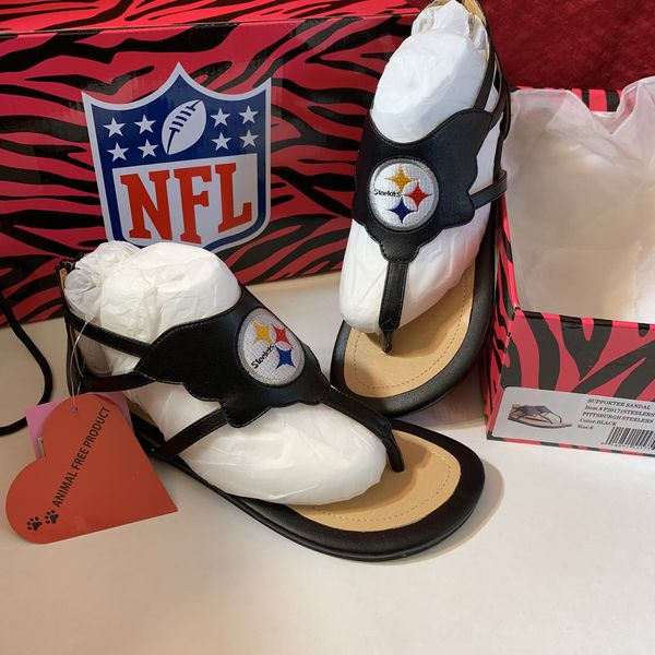 1dd03560d5745a NFL Pittsburgh Steelers Cuce Black Gladiator Sandals Women s BNWT ...