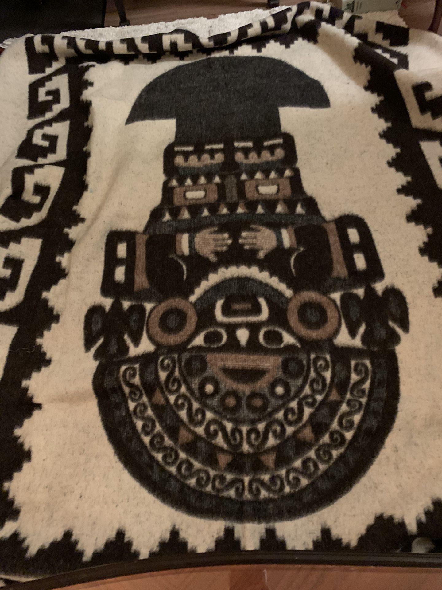 "Stunning, reversible llama bedspread, blanket or wall hanging; 72"" x 87"" from Peru"
