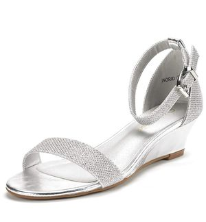 Silver Glitter wedge sandal for Sale in Denver, CO