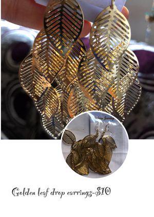Golden leaf drop dangling earrings for Sale in Lynchburg, VA