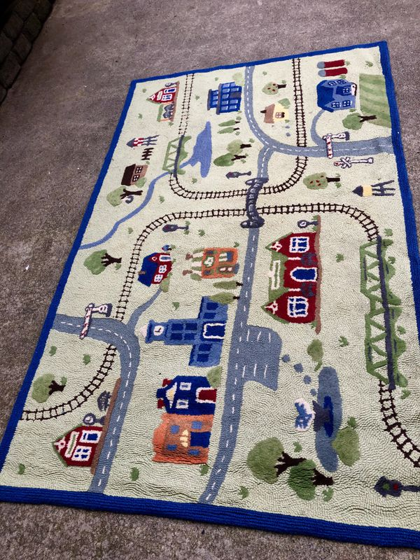 Pottery Barn Kids Train Station Rug 100 Wool For Sale In