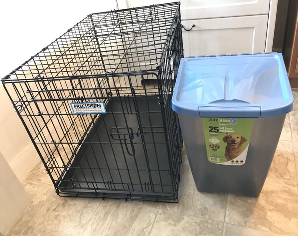 Large Metal Dog Crate Kennel Rolling Dog Food Storage Container
