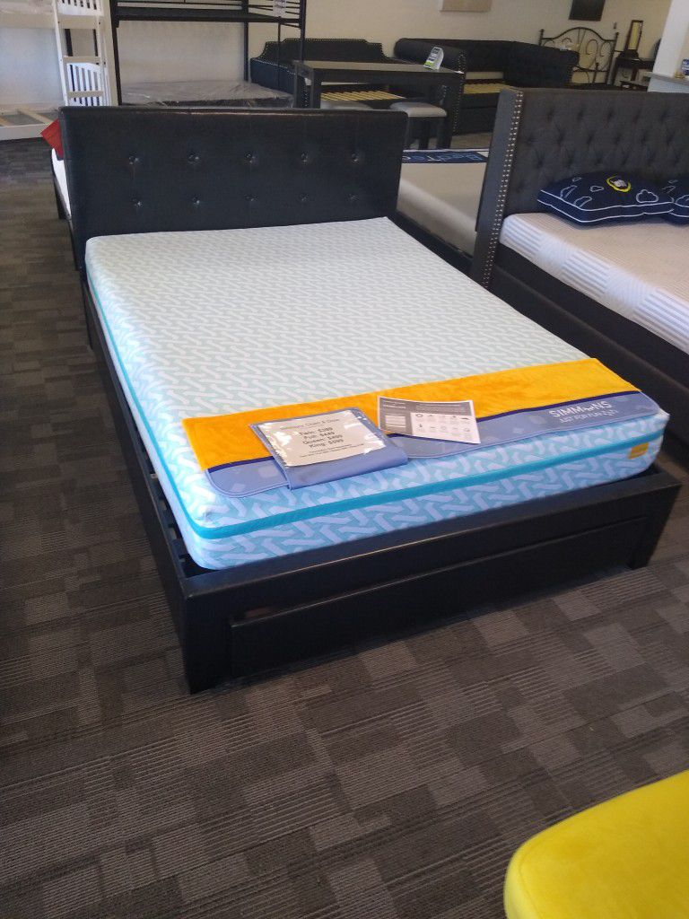 Queen Size Platform Bed Frame With Storage Drawerqnd 19 Inch Simmons Charli & Dixie Tiktok Gel Memory Foam Mattress Included